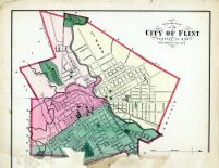 Flint - City - Outline Map, Genesee County 1873