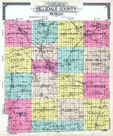 County Outline Map, Hillsdale County 1916 Published by Ogle