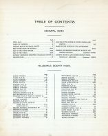 Table of Contents, Hillsdale County 1916 Published by Ogle
