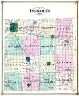 Ingham County Outline Map, Ingham County 1874 with Lansing