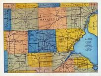 Lake Erie, Lenawee County and Adjacent Counties Map, Lenawee County 1928