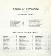 Index, Table of Contents, Montcalm County 1897