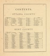 Table of Contents, Ottawa and Kent Counties 1876