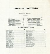 Index, Table of Contents, Sanilac County 1906