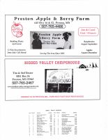 Carimona Township Owners Directory, Ad - Preston Apple and Berry Farm, Hildden Valley Campground, Fillmore County 2003