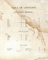 Table of Contents, Lyon County 1902