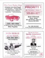 Popelka, My Own Body Shop, Priority 1 Metrowest Realty, Von Berge Auto, Anderson, State Farm, McLeod County 2003
