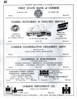 First State Bank of Cosmos, Dassel Hatchery & Poultry Service, Cosmos Co-Operative Creamery, Flemming, Meeker County 1952c Original