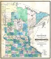 Minnesota 1874 Township and Railroad Map 24x27, Minnesota 1874 Township and Railroad Map
