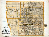 Clay, Wilkin, Becker, Otter Tail Counties, Wadena - Part, Minnesota State Atlas 1874