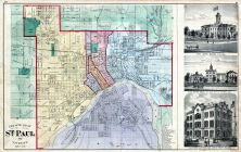 St. Paul City and Vicinity, Illustrations, State Capitol Building, State Reform School, Minnesota State Atlas 1874