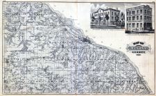Winona County, Illustrations, Soldiers Orphan's Home, Winona Republican Office, Minnesota State Atlas 1874