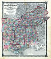 County Map Tennessee, Kentucky, Alabana, Mississippi, Arkansas and Louisiana, Adair County 1876
