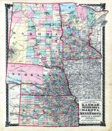 County Map of Kansas, Nebraska, Dakota and Minnesota, Adair County 1876