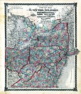 County Map of New York, New Jersey, Pennsylvania, Ohio, Delaware, Maryland, Virginia and West Virginia, Ontario, Adair County 1876