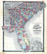 County Map of North Carolina, South Carolina, Georgia and Florida, Adair County 1876