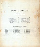 Table of Contents, Knox County 1898