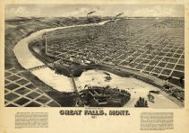 Great Falls 1891 Bird's Eye View 24x34, Great Falls 1891 Bird's Eye View