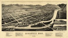 Missoula 1884 Bird's Eye View 17x29, Missoula 1884 Bird's Eye View