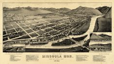 Missoula 1884 Bird's Eye View 24x42, Missoula 1884 Bird's Eye View