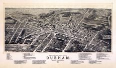 Durham 1891 Bird's Eye View 17x28, Durham 1891 Bird's Eye View