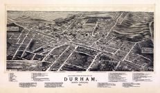 Durham 1891 Bird's Eye View 24x40, Durham 1891 Bird's Eye View