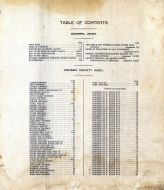 Table of Contents, Benson County 1910