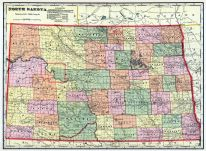 North Dakota State Map, Grand Forks County 1909