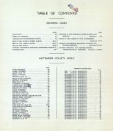 Table of Contents, Hettinger County 1917