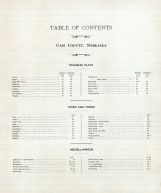 Table of Contents, Cass County 1905