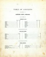 Table of Contents, Saunders County 1907