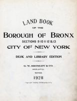 Title Page, Bronx 1928 South of 172nd Street