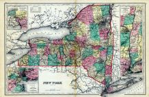 New York State Map, Hudson River Valley, Niagara River and Vicinity, Cortland County 1876