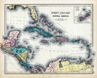 West Indies and Central America Map, Dutchess County 1876