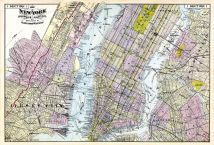 1, New York Map, Brooklyn, Jersey City (Section 1), Hudson River Valley 1891