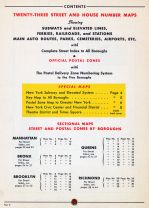 Table of Contents, New York City 1949 Five Boroughs Street Atlas