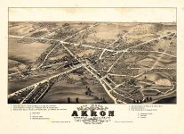 Akron - Sixth Ward 1882 Bird's Eye View 17x23, Akron - Sixth Ward 1882 Bird's Eye View