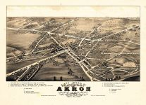 Akron - Sixth Ward 1882 Bird's Eye View 24x32, Akron - Sixth Ward 1882 Bird's Eye View