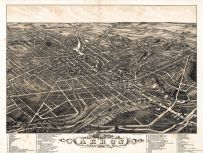 Akron 1882 Bird's Eye View 24x31, Akron 1882 Bird's Eye View