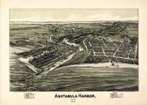 Ashtabula Harbor 1896 Bird's Eye View 17x23, Ashtabula Harbor 1896 Bird's Eye View