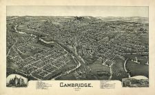 Cambridge 1899 Bird's Eye View 24x38, Cambridge 1899 Bird's Eye View