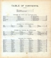 Table of Contents, Cuyahoga County 1874