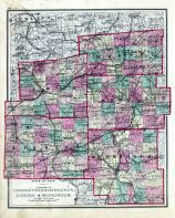 Ohio County Map - Coshocton, Holmes, Knox, Licking, Muskingum, Fayette County 1875