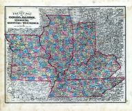 State Maps - County Map - Indiana, Illinois, Missouri, Kentucky, Tennessee, Fayette County 1875