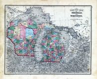 State Maps - Michigan, Wisconsin, Fayette County 1875