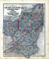 State Maps - New York, New Jersey, Pennsylvania, Ohio, Delaware, Maryland, Virginia, West Virginia, North Carolina, Fayette County 1875