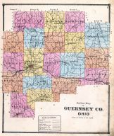Guernsey County Outline Map, Guernsey County 1870
