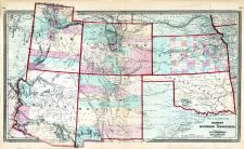 Kansas and Southern Territories, Utah, Colorado, Arizona, New Mexico, Texas, Ohio State Atlas 1868