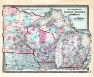 Michigam, Wisconsin, Minnesota, Iowa, Ohio State Atlas 1868