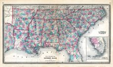 Southern States, Arkansas, Tennessee, North Carolina, South Carolina, Georgia, Florida, Alabama, Mississippi, Louisiana, Ohio State Atlas 1868